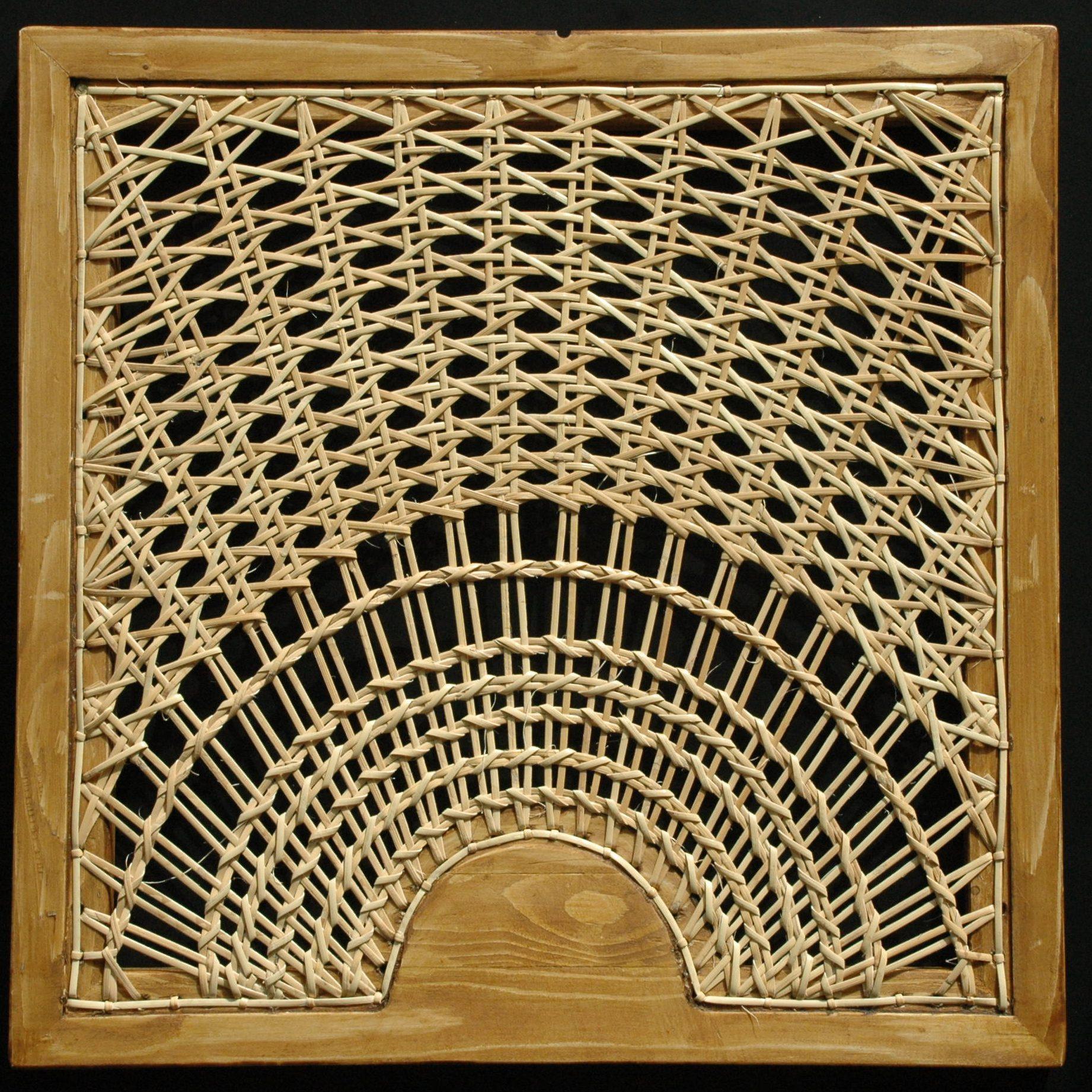 gaatjesmat zonnestraal patroon met rotan gevlochten