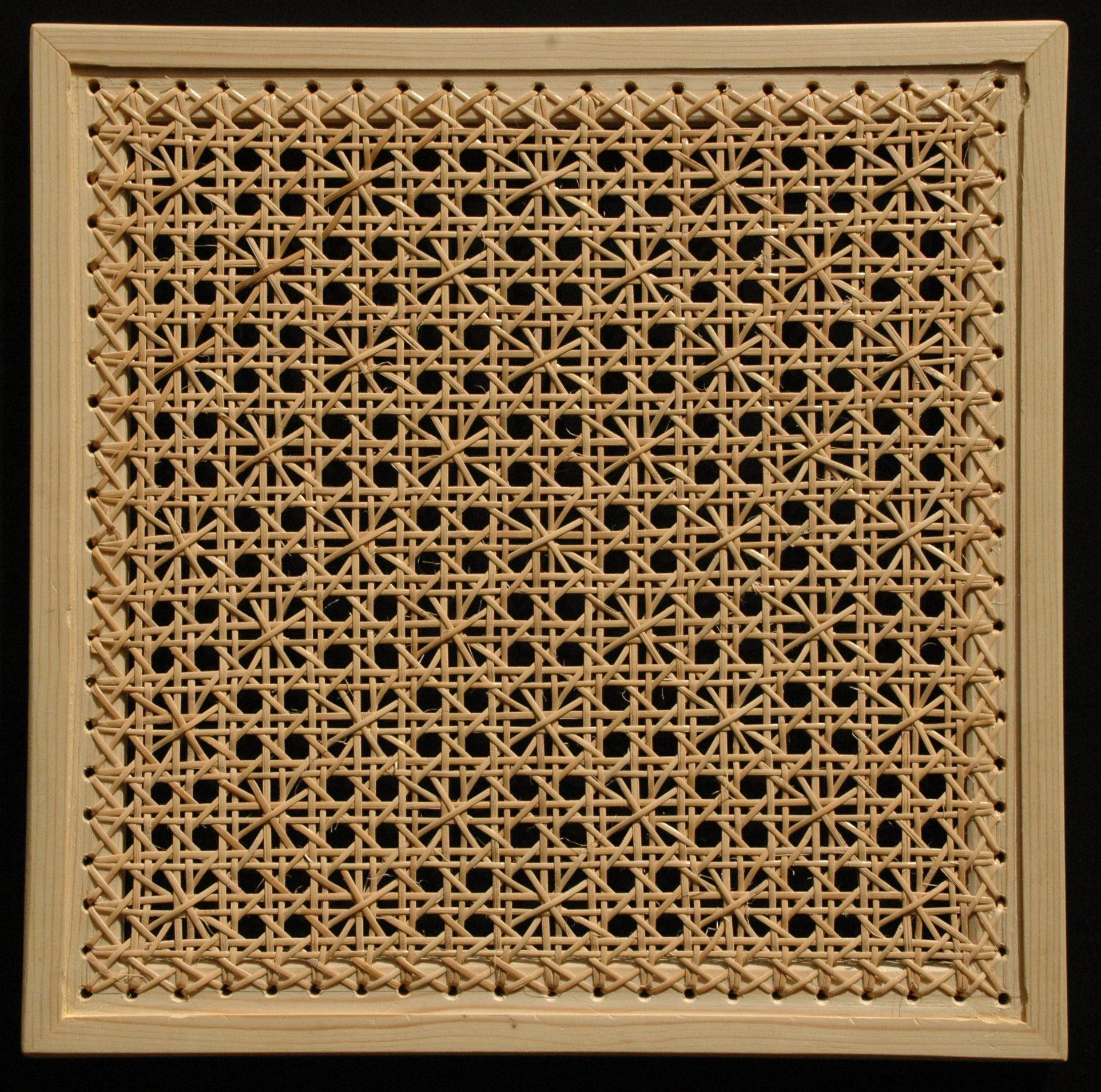 gaatjesmat margriet patroon met rotan gevlochten